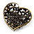 Vintage Crystal Heart Brooch (Bronze Tone) - view 3