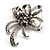 Crystal Bow Corsage Brooch (Silver Tone) - view 1