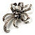 Crystal Bow Corsage Brooch (Silver Tone) - view 2