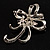 Crystal Bow Corsage Brooch (Silver Tone) - view 6