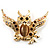 Stunning Crystal Owl Brooch (Gold Tone) - view 1