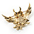 Stunning Crystal Owl Brooch (Gold Tone) - view 7