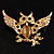 Stunning Crystal Owl Brooch (Gold Tone) - view 2