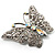 Diamante Filigree Butterfly Pin (Silver Tone) - view 4