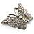 Diamante Filigree Butterfly Pin (Silver Tone) - view 4