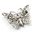 Diamante Filigree Butterfly Pin (Silver Tone) - view 6