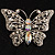 Diamante Filigree Butterfly Pin (Silver Tone) - view 2