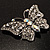 Diamante Filigree Butterfly Pin (Silver Tone) - view 5