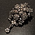 Chic Black Swarovski Crystal Charm Brooch (Black Tone) - view 7