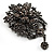 Chic Black Swarovski Crystal Charm Brooch (Black Tone) - view 2