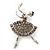 Asphalt Grey Crystal Ballerina Brooch (Silver Tone) - 4.5cm Length
