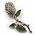 Vintage Crystal Rose Brooch (Silver&Clear&Green) - view 2
