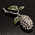 Vintage Crystal Rose Brooch (Silver&Clear&Green) - view 7