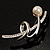 Silver Tone Imitation Pearl Floral Brooch - view 2