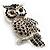 Large Jet Black Swarovski Crystal Owl Brooch (Silver Tone) - view 3