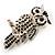 Large Jet Black Swarovski Crystal Owl Brooch (Silver Tone) - view 4