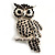 Large Jet Black Swarovski Crystal Owl Brooch (Silver Tone)