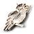 Large Jet Black Swarovski Crystal Owl Brooch (Silver Tone) - view 5