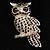Large Jet Black Swarovski Crystal Owl Brooch (Silver Tone) - view 2