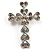Clear Swarovski Crystal Cross Brooch (Silver Tone)