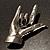 Gun Metal 'Rock & Roll' Brooch - 70mm L - view 6