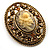 Vintage Floral Crystal Cameo Brooch (Antique Gold Finish) - view 9