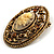 Vintage Floral Crystal Cameo Brooch (Antique Gold Finish) - view 4
