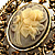 Vintage Floral Crystal Cameo Brooch (Antique Gold Finish) - view 3