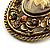 Vintage Floral Crystal Cameo Brooch (Antique Gold Finish) - view 5