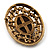 Vintage Floral Crystal Cameo Brooch (Antique Gold Finish) - view 6