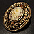 Vintage Floral Crystal Cameo Brooch (Antique Gold Finish) - view 7