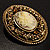 Vintage Floral Crystal Cameo Brooch (Antique Gold Finish) - view 8