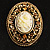 Vintage Floral Crystal Cameo Brooch (Antique Gold Finish) - view 2