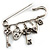 Key, Lock And Heart Locket Charm Safety Pin Brooch (Silver Tone) - view 7