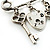 Key, Lock And Heart Locket Charm Safety Pin Brooch (Silver Tone) - view 8