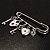 Key, Lock And Heart Locket Charm Safety Pin Brooch (Silver Tone) - view 5