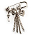 'Love', Key, Lock, Heart And Tassel Safety Pin Brooch (Antique Silver Tone)