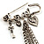 'Love', Key, Lock, Heart And Tassel Safety Pin Brooch (Antique Silver Tone) - view 3
