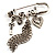 'Love', Key, Lock, Heart And Tassel Safety Pin Brooch (Antique Silver Tone) - view 6