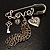 'Love', Key, Lock, Heart And Tassel Safety Pin Brooch (Antique Silver Tone) - view 2