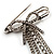 Vintage Crystal Bow & Tassel Pin Brooch (Silver Tone) - view 3