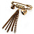 'Love', Crystal Heart, Flower And Tassel Safety Pin Brooch (Burn Gold Finish) - view 8