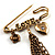 'Love', Crystal Heart, Flower And Tassel Safety Pin Brooch (Burn Gold Finish) - view 2