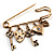 Key, Lock And Heart Locket Charm Safety Pin Brooch (Burn Gold Finish) - view 2