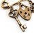 Key, Lock And Heart Locket Charm Safety Pin Brooch (Burn Gold Finish) - view 5