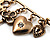 Key, Lock And Heart Locket Charm Safety Pin Brooch (Burn Gold Finish) - view 6