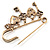 Key, Lock And Heart Locket Charm Safety Pin Brooch (Burn Gold Finish) - view 3