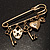 Key, Lock And Heart Locket Charm Safety Pin Brooch (Burn Gold Finish) - view 8