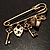 Key, Lock And Heart Locket Charm Safety Pin Brooch (Burn Gold Finish) - view 9