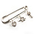 Crystal Key, Star And Heart Charm Safety Pin Brooch (Silver Tone) - view 9